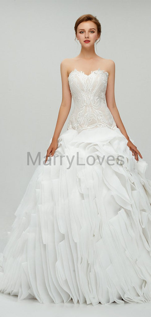 Elegant Charming Sweetheart Sleeveless Long Organza  Cheap Ball Gown Appliqued Wedding Dresses, SWD0002