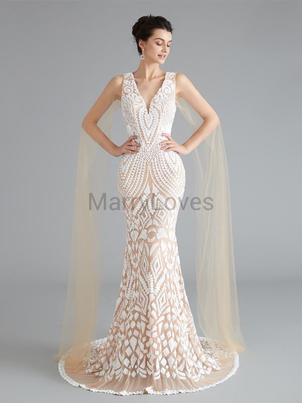 Gorgeous Charming V-neck Champagne Tulle Beading Mermaid Long Cheap Prom Dresses, SPD0042