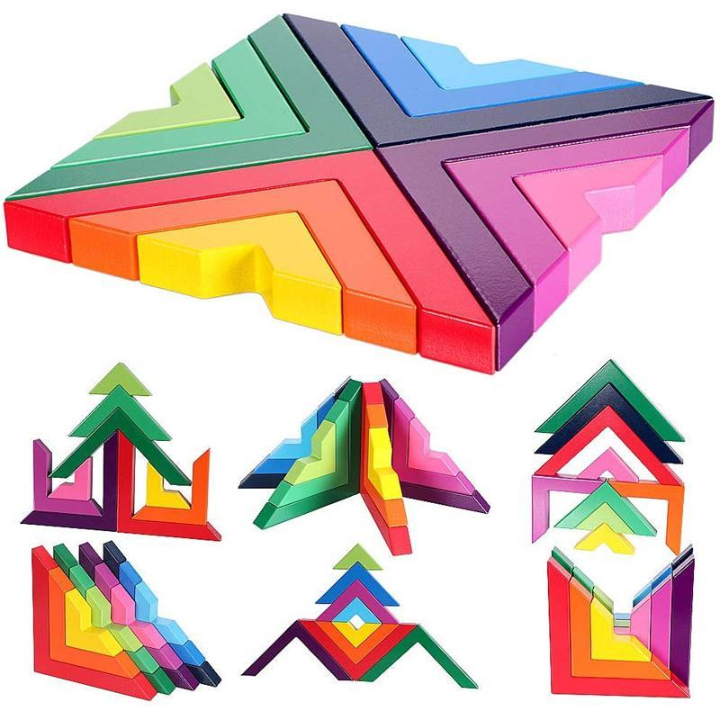 Creative Nesting Wooden Rainbow Stacking Game Geometry Building Blocks