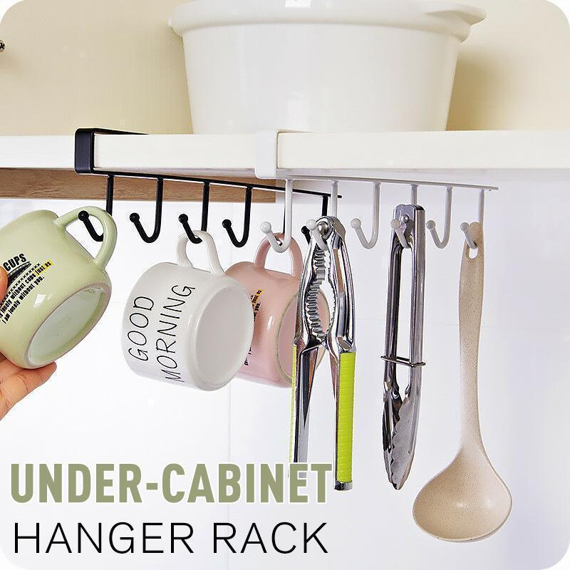 6 Hooks Under-Cabinet Hanger Rack