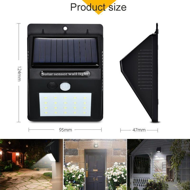 20 LED Solar Lamps Outdoor, Super Bright Wall Lamp with Motion Sensor