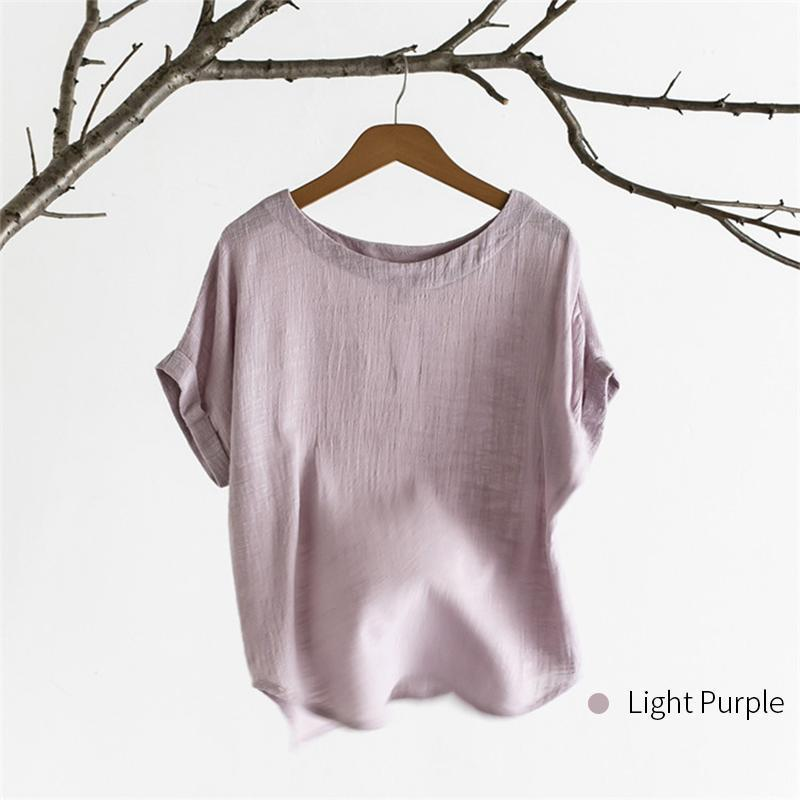 Bamboo & Cotton O-neck Solid Color T-shirt
