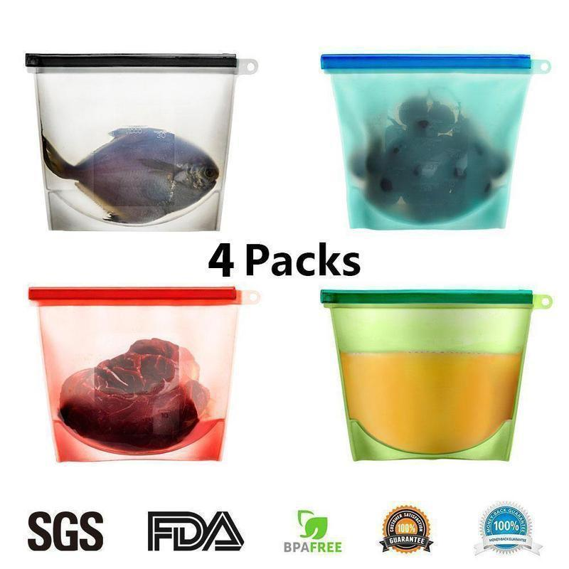Silicone Food Storage Bags, 4 colors