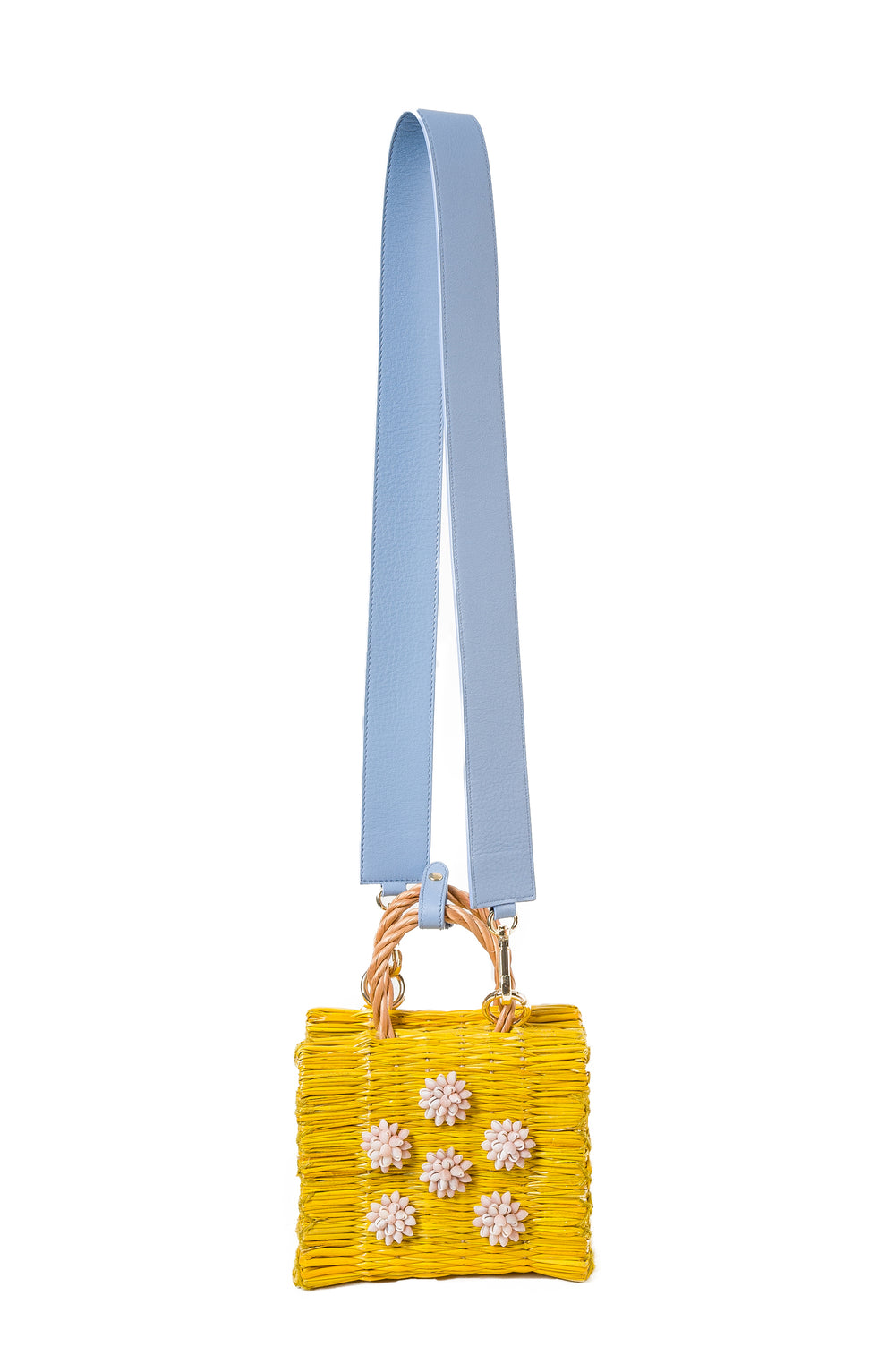 Celeste baby blue leather with strap