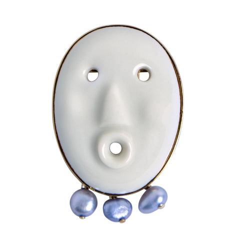 Lares earring in white & blue