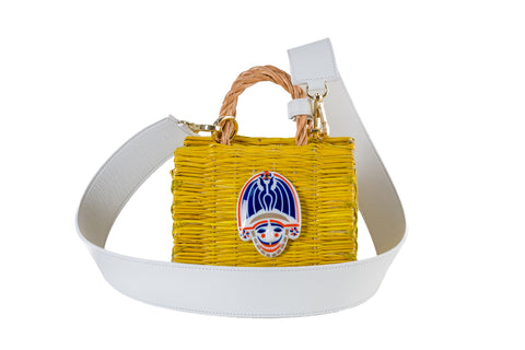 Yellow & white mini cigarron with strap