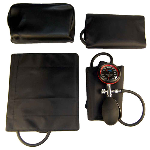 Palm aneroid sphygmomanometer with large and extra large BP cuffs