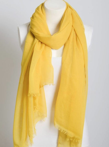 Mustard Yellow Lightweight Frayed Scarf
