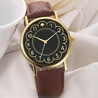 2017 Fashion Women PU Leather Black Watch Women Quartz Wrist Watch Women's PU Leather Strap Watches reloj mujer