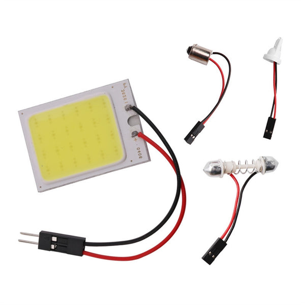 COB 24SMD Superbright White LED Panel Roof Lamp Auto Car Interior Reading Plate Light Interior Wired Lamp with T10, BA9S & Festoon Adapters