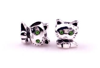 DIY Jewelry Accessories fit pandora bracelet style Tibetan silver alloy drill beads kitten