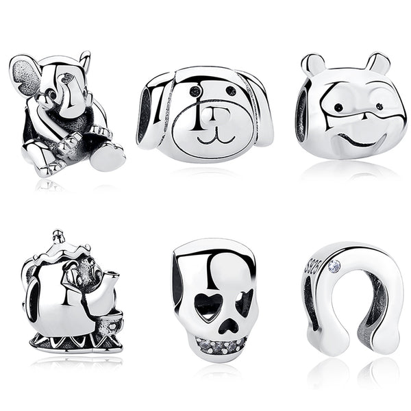 Authentic Real 100% 925 Sterling Silver Animal Bear Dog Charms Beads Fit Original Pandora Bracelet Necklace DIY Jewelry Making