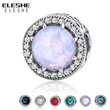 ELESHE Authentic 925 Sterling Silver Radiant Hearts 6 Colors Clear CZ Charms Beads Fit Pandora Charm Bracelet Original Jewelry