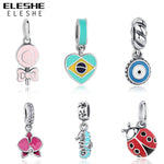 ELESHE European Charm Bead Authentic 925 Sterling Silver Enamel Flower Bead Fit Original Pandora Charm Bracelet Women Jewelry