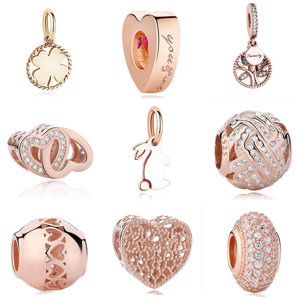 Original 925 Sterling Silver Charm Beads Heart Family Tree Rabbit Rose Gold Cystal  Beads Fit Pandora Charms Bracelets Jewelry