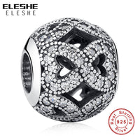 ELESHE Real 925 Sterling Silver Infinity Charm Crystal Openwork Charm Beads Fit Pandora Bracelet Authentic Luxury DIY Jewelry