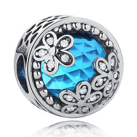 European 925 Sterling Silver Jewelry Blue CZ Crystal Faceted Murano Glass Beads Fit Pandora Original Charm Bracelets DIY Jewelry