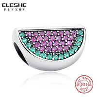 ELESHE 925 Sterling Silver Watermelon Red&Green Clear CZ Charm fit Original Pandora Bracelets&Bangles Women Jewelry Accessories