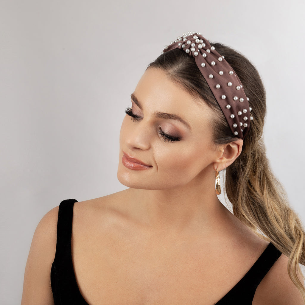 PEARL EMBELLISHED TOP-KNOT HEADBAND