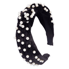 Load image into Gallery viewer, PEARL EMBELLISHED TOP-KNOT HEADBAND