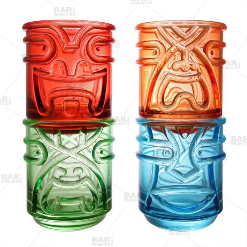Colored Tiki Stacking Tumblers (12oz) - Set of 4