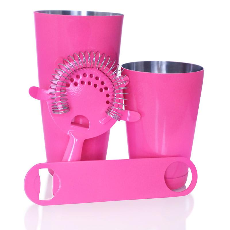 Neon Pink  4 piece Speed Opener Bar Set with 18 oz. Shaker Tin