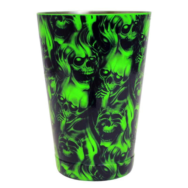 Cocktail Shaker Tin - Printed Designer Series - 18oz weighted - NEON GREEN Evil