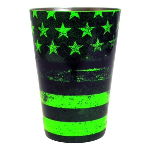 Cocktail Shaker Tin - Printed Designer Series - 18oz weighted - NEON GREEN U.S. Flag
