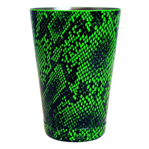 Cocktail Shaker Tin - Printed Designer Series - 18oz weighted - NEON GREEN Snake Skin