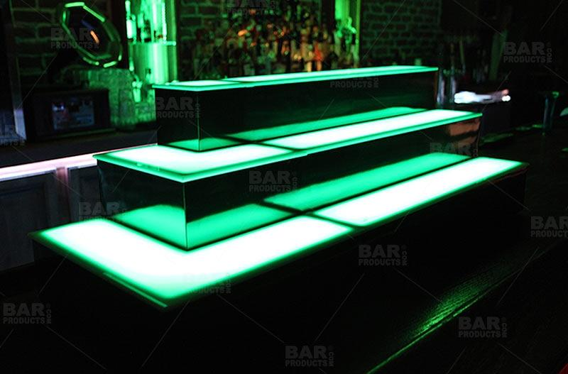BarConic® LED Liquor Bottle Display Shelf - Outside Corner - 2 Steps - Black