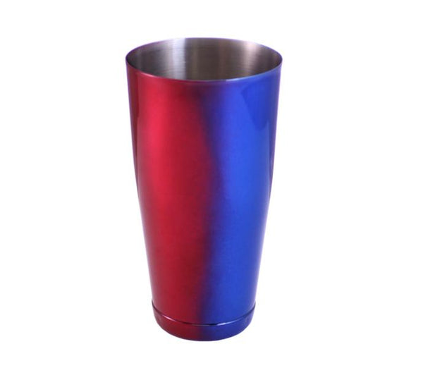 Blue and Red Color Fusion 28 oz Weighted Cocktail Shaker Tin
