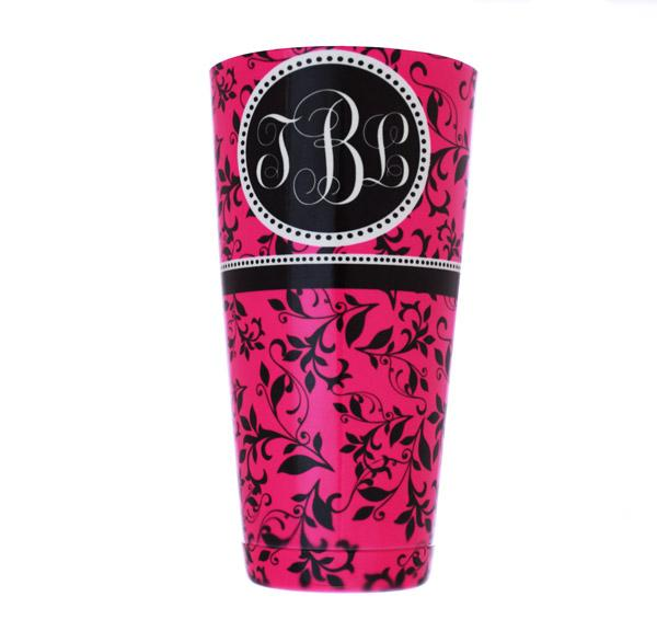 ADD YOUR NAME - Cocktail Shaker Tin - 28 oz weighted - Pink Swirls Monogram - Rim Facing Up