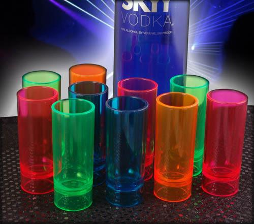 Plastic Neon Shooter Cups - 2 ounce - Assorted Colors Pack of 10