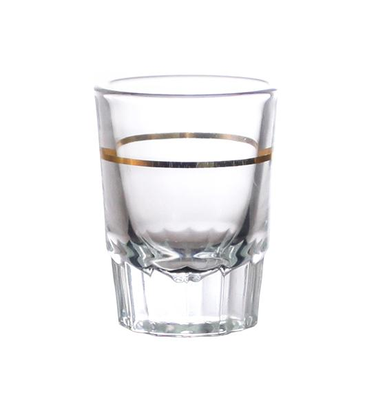 BarConic® 2oz Shot Glass with Gold 1oz Measure Line