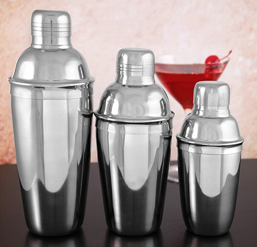 3 Piece Cocktail Shakers - Stainless Steel Delux
