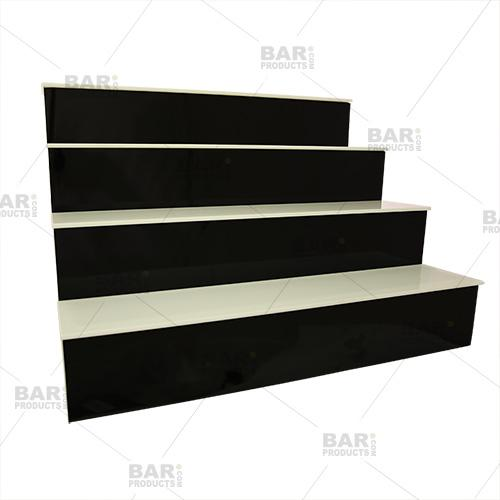 BarConic® LED Liquor Bottle Display Shelf - 4 Step - Black - Multi Colored Lights - Several Lengths