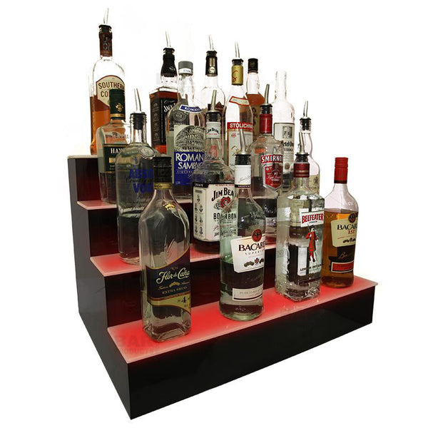 Products BarConic® LED Liquor Bottle Display Shelf - 4 Step - Black - Multi Colored Lights - Several Lengths