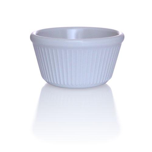 White - 4 oz. Fluted Melamine Ramekin - 12/pack