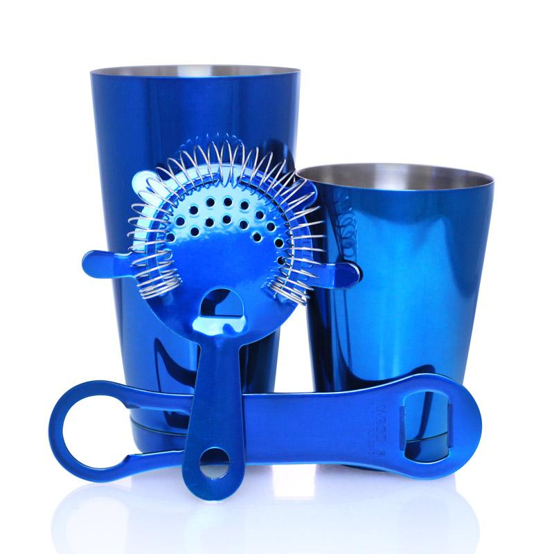 Candy Blue 4 piece V-Rod® Bar Set with 18 oz. Shaker Tin