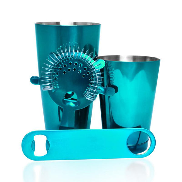 Candy Teal 4 piece Speed Opener Bar Set with 18 oz. Shaker Tin