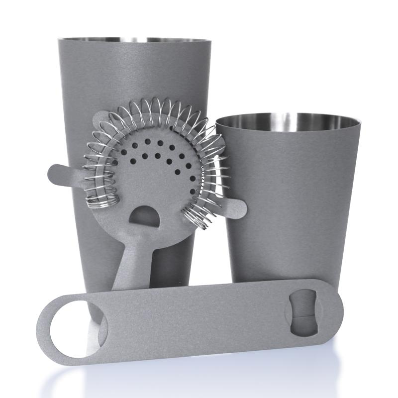 Textured Shadow Grey 4 piece Speed Opener Bar Set with 18 oz. Shaker Tin