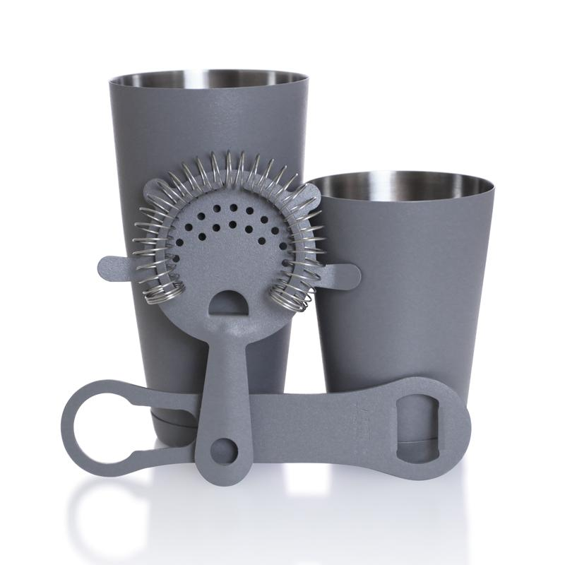 Textured Shadow Grey 4 piece V-Rod® Bar Set with 18 oz. Shaker Tin