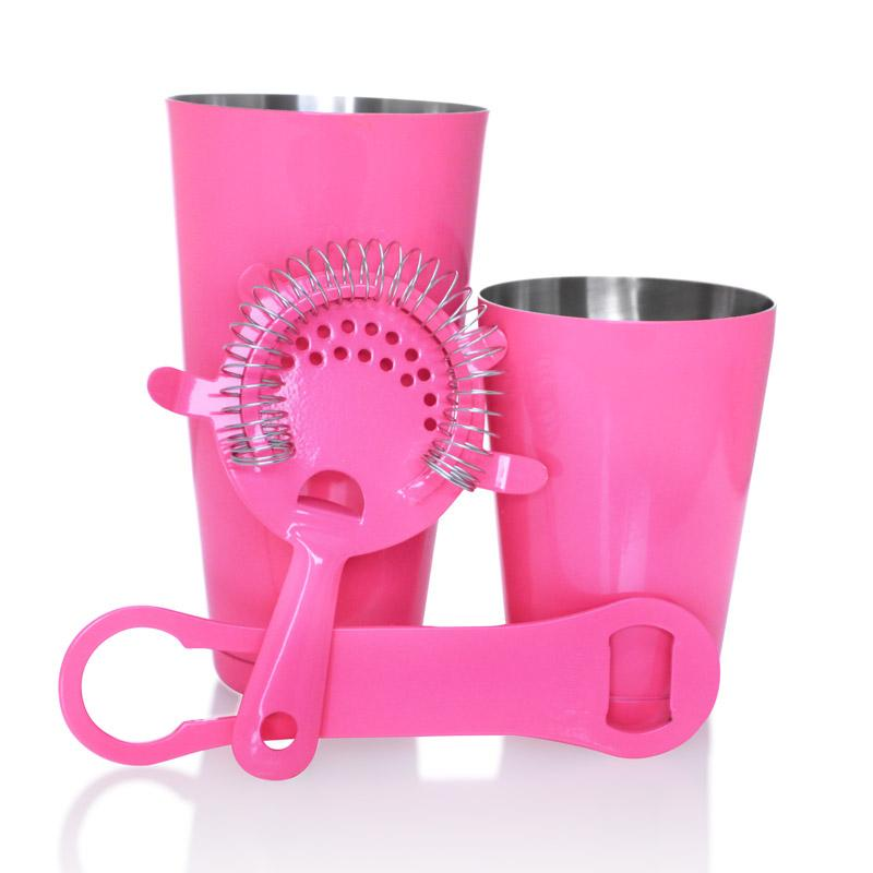 Neon Pink  4 piece V-Rod® Bar Set with 18 oz. Shaker Tin