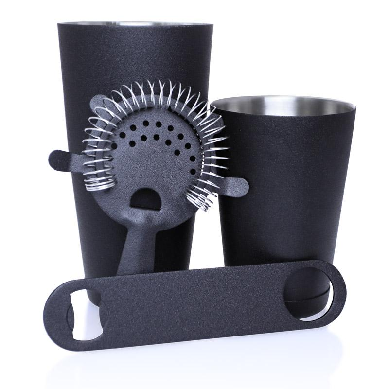 Black Grip 4 piece Speed Opener Bar Set with 18 oz. Shaker Tin