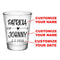 CUSTOMIZABLE - 1.75oz Clear Wedding Shot Glass - Heart Arrow