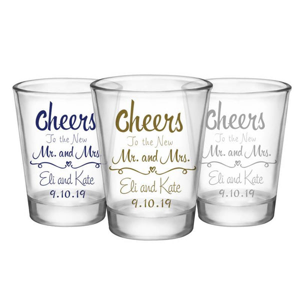 CUSTOMIZABLE Clear Wedding Shot Glass - Cheers - 1.75oz