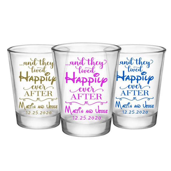 CUSTOMIZABLE - 1.75oz Clear Shot Glass - Happily Ever After
