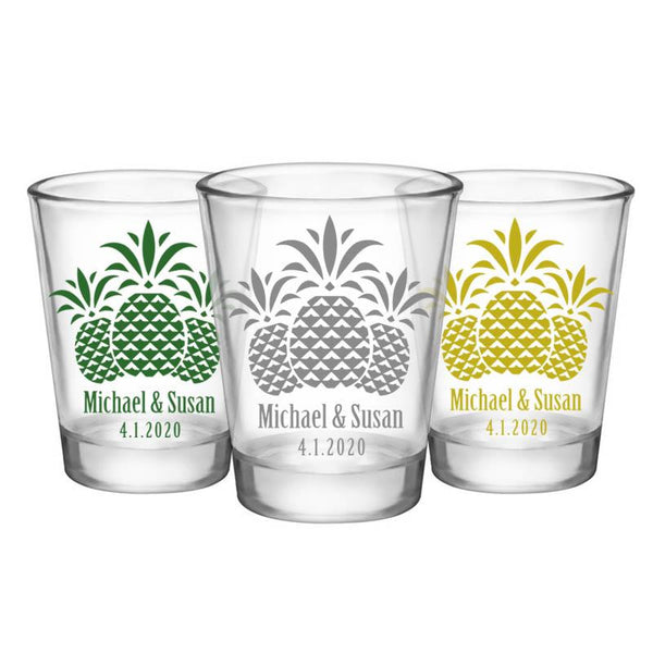 CUSTOMIZABLE Clear Wedding Shot Glass - Pineapples- 1.75oz