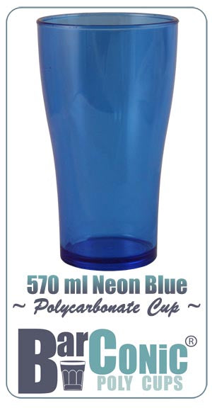 BarConic 570ml Polycarbonate Neon Blue Cup