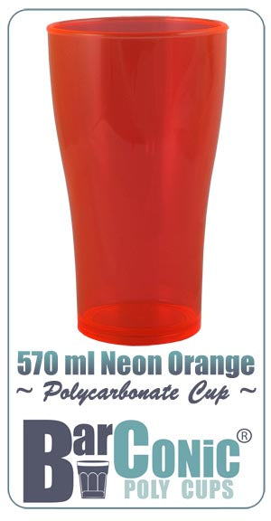 BarConic 570ml Polycarbonate Neon Orange Cup